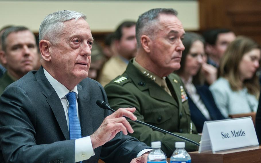 """Secretary of Defense Jim Mattis testifies during a House Committee on Armed Services hearing on Capitol Hill in Washington, D.C., on Thursday, April 12, 2018. In answer to questions about a possible missile strike in Syria, Mattis said in reference to recent chemical attacks that """"some things are simply inexcusable, beyond the pale and in the worst interest of ... civilization itself."""" At right is Chairman of the Joint Chiefs of Staff Joseph Dunford."""