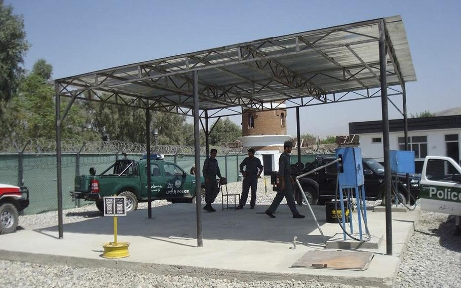 Fuel pumps near a Jalalabad police station in 2009 in Afghanistan. Navy Lt. Tim Patterson said he investigated fuel theft in Jalalabad in 2009, but his efforts proved frustrating. A recent U.S. watchdog report said that fuel theft remains pervasive in Afghanistan.