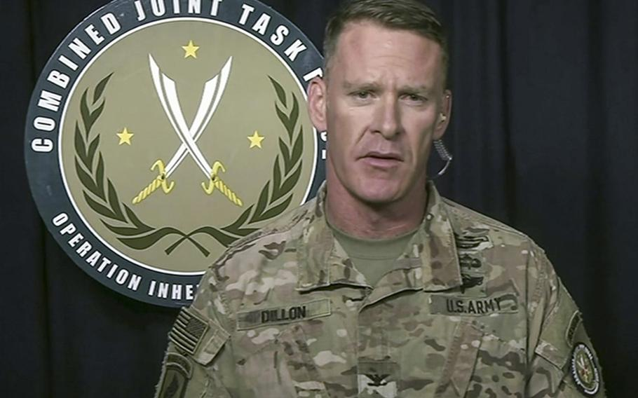 Army Col. Ryan S. Dillon, spokesman for Combined Joint Task Force-Operation Inherent Resolve, briefs Pentagon reporters by video on April 17, 2018.