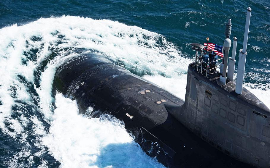 The Virginia-class nuclear submarine USS John Warner navigates in the Mediterranean Sea on March 5, 2018, during an exercise. After completing this exercise, the submarine passed near the Bay of Naples, causing the city's mayor to complain that it had violated a nuclear-free zone.