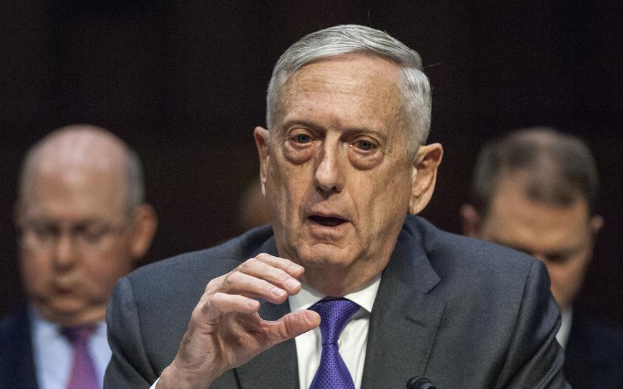 Defense Secretary Jim Mattis testifies before the Senate Armed Services Committee during a hearing on Capitol Hill in Washington, D.C., on Thursday, April 26, 2018.