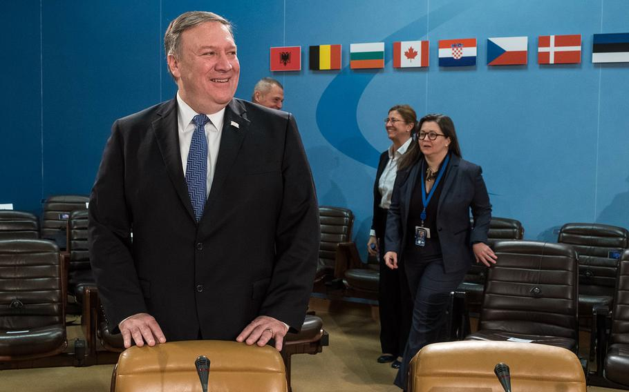 U.S. Secretary of State Mike Pompeo before the start of the foreign ministers meeting at NATO headquarters in Brussels on Friday, April 27, 2018.
