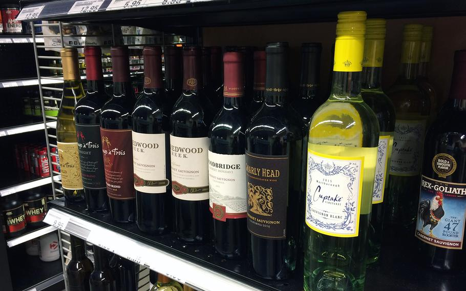 Wine is sold at an Express store at Kleber Kaserne in Germany. Commissaries will start selling beer and wine within the next 90 days.
