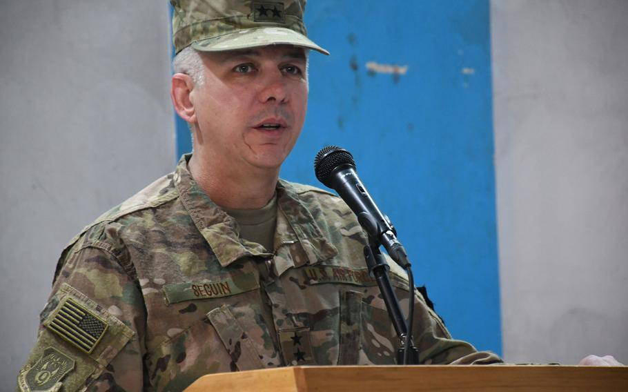 Air Force Maj. Gen. Barre R. Seguin speaks at a ceremony in Kabul on Wednesday, May 2, 2018, after assuming command of the 9th Air and Space Expeditionary Task Force-Afghanistan and NATO Air Command-Afghanistan.
