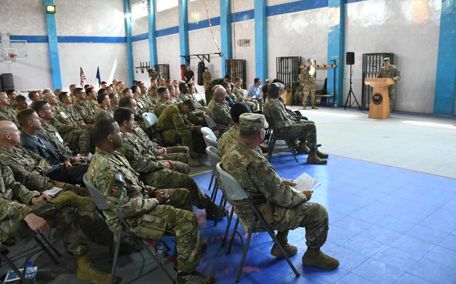 Air Force Maj. Gen. James B. Hecker gives his last speech as commander of the 9th Air and Space Expeditionary Task Force-Afghanistan and NATO Air Command-Afghanistan at a ceremony in Kabul on May 2, 2018.