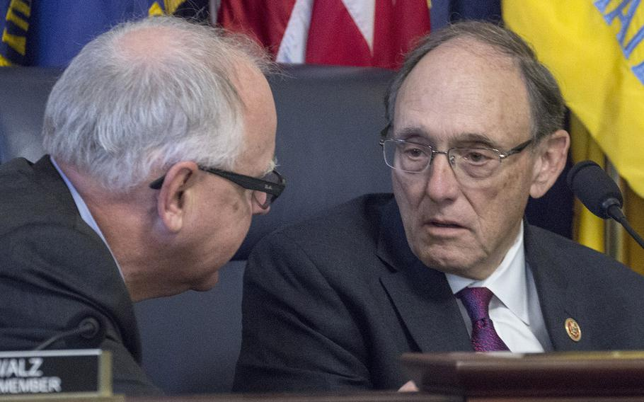 """House Committee on Veterans' Affairs Chairman Rep. Phil Roe, R-Tenn., right, has introduced a reworked bill that now includes a method to pay for extending Agent Orange benefits to Vietnam War """"Blue Water"""" veterans. Ranking Member Rep. Tim Walz, D-Minn, left, says he will support the legislation."""