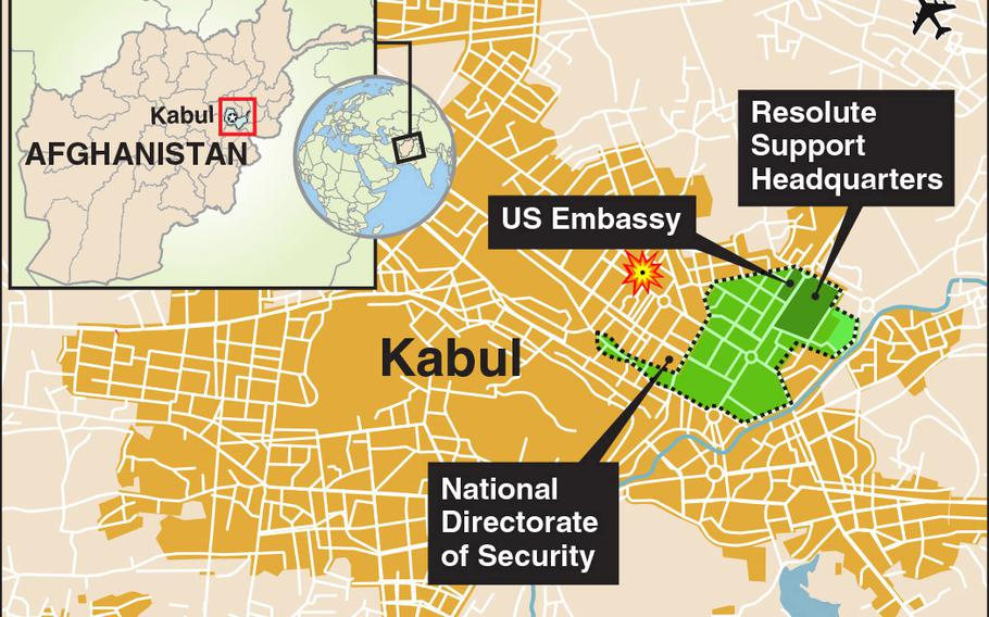 The blast symbol shows where Kabul police foiled a suicide bombing attack on civilians who had set up a blood collection drive in a park about one mile from the U.S. Embassy and NATO mission headquarters.