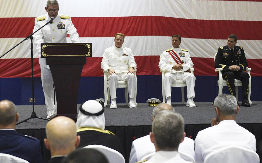Vice Adm. Scott Stearney addresses the crowd at a change of command ceremony for U.S. Naval Forces Central Command and U.S. 5th Fleet in Manama, Bahrain May 6, 2018. Stearney relieved Vice Admiral John Aquilino.