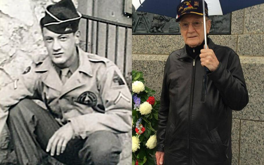 Harry Miller, who served during World War II, the Korean War and the Vietnam War, will speak at a VE Day ceremony at the National World War II Memorial in Washington, May 8, 2018.