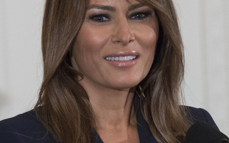 First lady Melania Trump speaks at a White House ceremony promoting employment for military spouses, May 9, 2018.