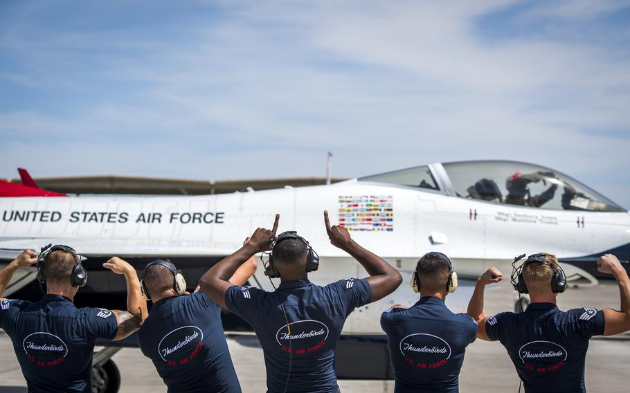 The U.S. Air Force's Thunderbirds conduct their first training flight in Las Vegas on April 18, 2018, following an aircraft mishap on April 4.