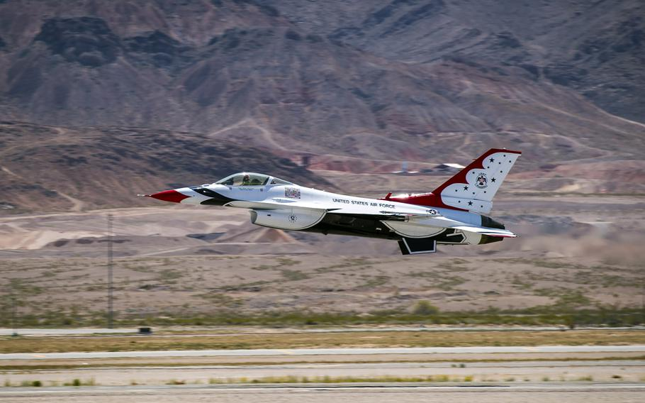 A Thunderbird pilot takes off as the U.S. Air Force demonstration team conducts their first training flight on April 18, 2018, following an aircraft mishap on April 4.