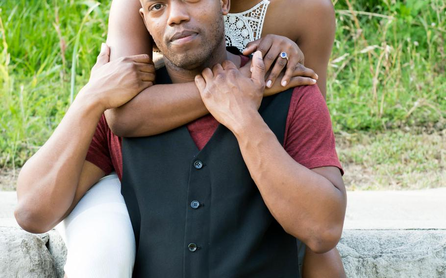 Cillia and Isaiah Alexander Marion, photographed here before their wedding in April, met in 2015 during a drill for the Texas Army National Guard.