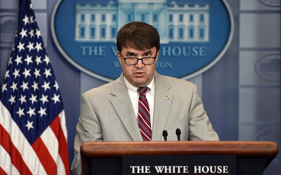 Acting Veterans Affairs Secretary Robert Wilkie speaks during a press briefing at the White House May 17, 2018, in Washington, D.C.