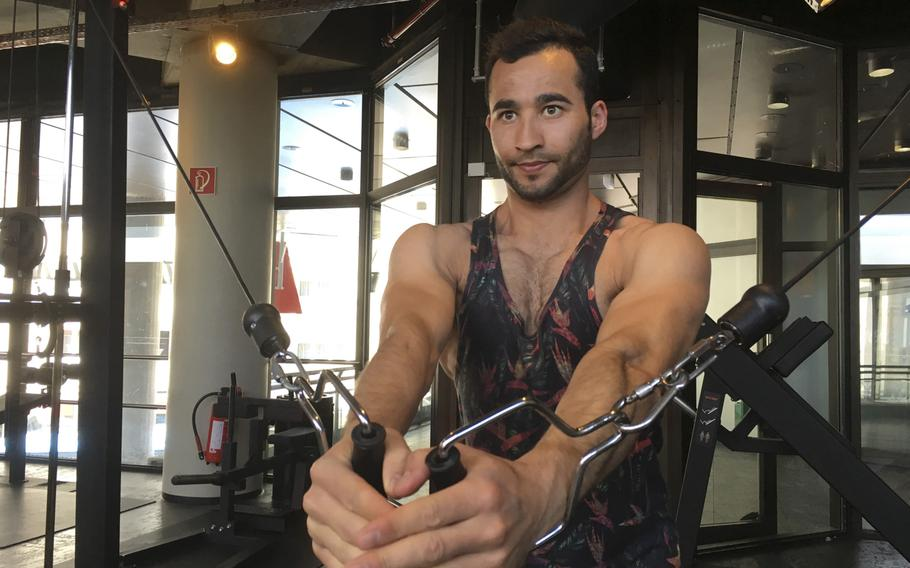 Afghan migrant Nematullah, 20, works out daily in a gym in downtown Kaiserslautern as he awaits the appeal of an asylum decision on whether he can stay in Germany. Nematullah, who goes by his first name, is one of an estimated 250,000 Afghan asylum-seekers in Germany.