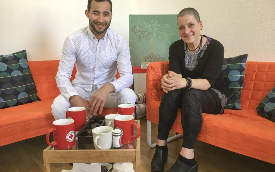Afghan migrant Nematullah, 20, attends weekly sessions with Red Cross psychologist Susanne Sage, 52, as part of a recently established mental health clinic in Kaiserslautern, Germany, for refugees who suffer from trauma.