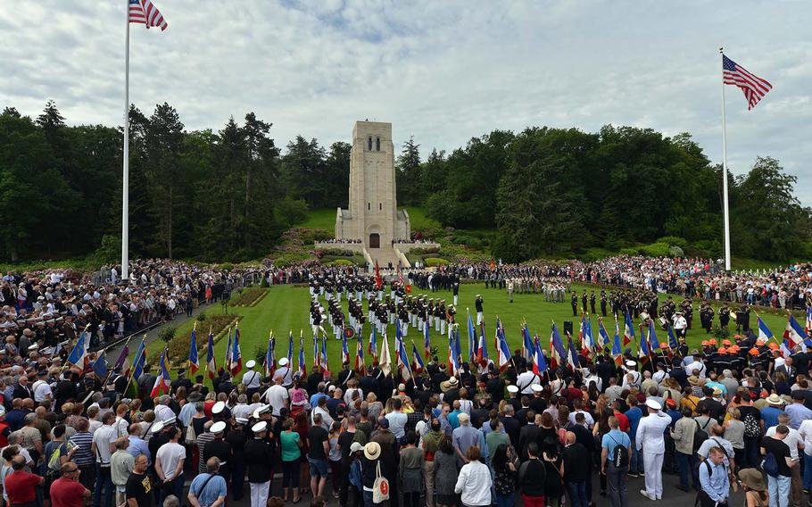 Americans and French commemorated Memorial Day and the centennial of the World War I Battle of Belleau Wood at a ceremony at Aisne-Marne American Cemetery in Belleau, France. There was an overflow crowd with people watching the ceremony on a oversized screen at the front of the cemetery
