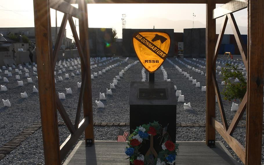Pictured here on Memorial Day, Monday, May 28, 2018, is a memorial near the Bagram Air Field PX that marks the site of a November 2016 attack that killed five Americans and wounded 15 others the day after Veterans Day.