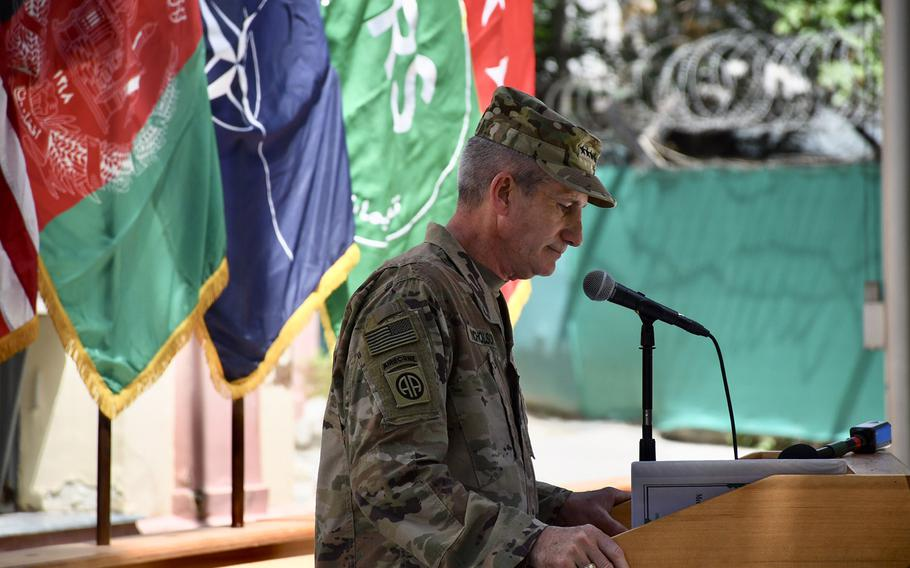 U.S. Army Gen. John Nicholson pauses to compose himself during a moving Memorial Day speech at Resolute Support headquarters in Kabul, Afghanistan, on Monday, May 28, 2018.
