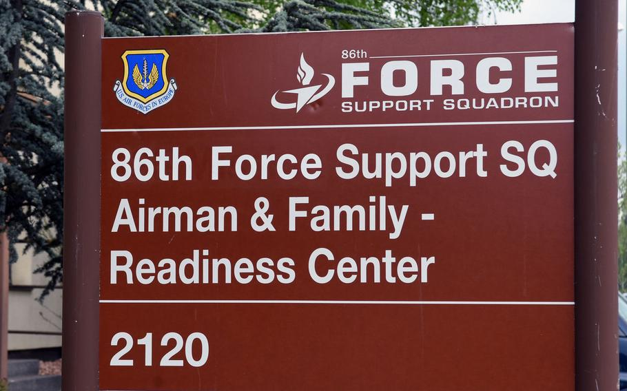 A sign denotes the headquarters for the 86th Force Support Squadron on Ramstein Air Base, Germany. The squadron recently revamped its employment program for third-country nationals, to address a worker's compensation claim that was denied by the Air Force.