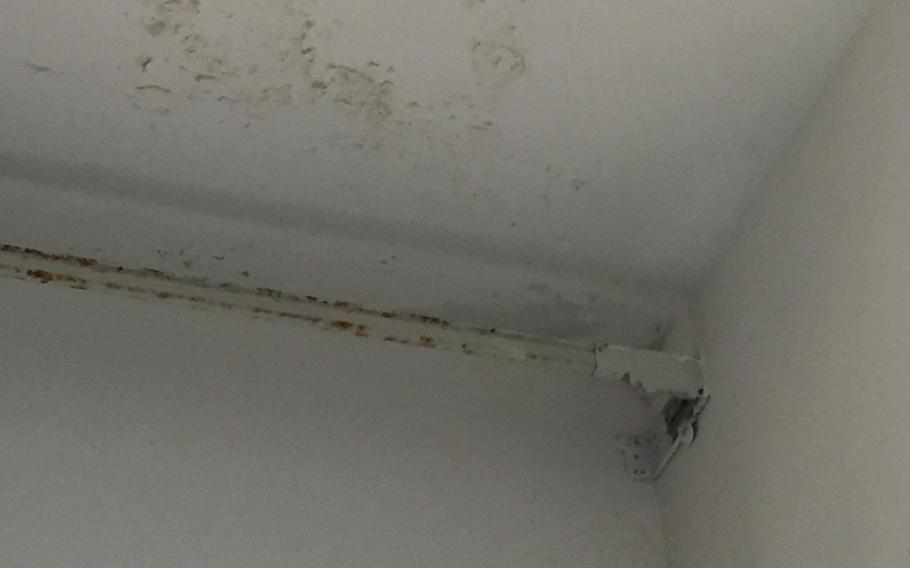 A leaky roof caused paint to chip in the bathroom of the Alaniz family's townhouse in Lago Patria, Italy. Health experts say peeling paint increases the risk to children, even when the paint's lead content is at levels deemed safe.