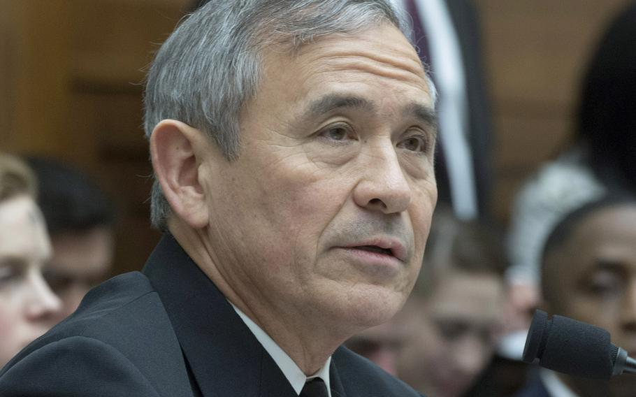 Harry Harris testifies at a House Armed Services Committee hearing on Capitol Hill, Feb. 14, 2018.