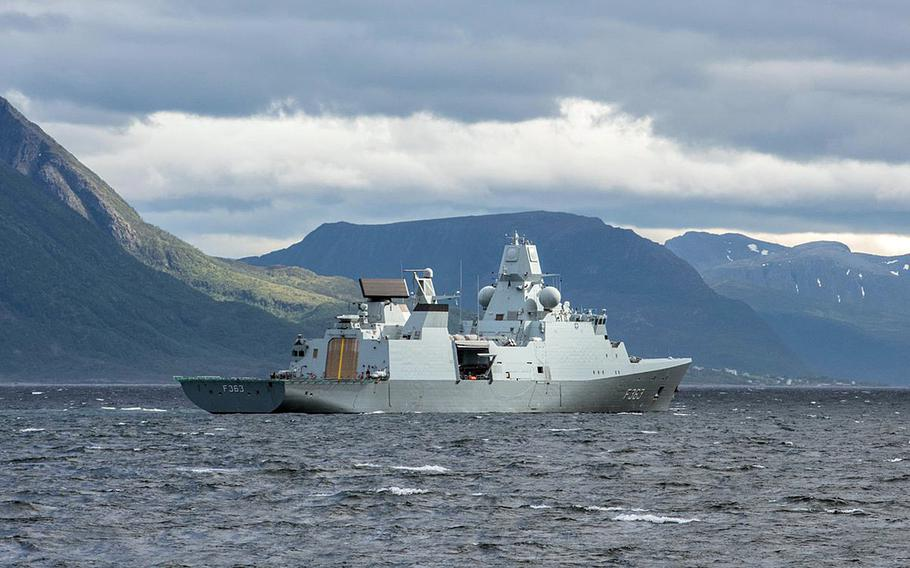 NATO Maritime Group One flagship HDMS Niels Juel in the fjords of Norway on June 25, 2018, during Dynamic Mongoose, a two-week allied anti-submarine exercise.