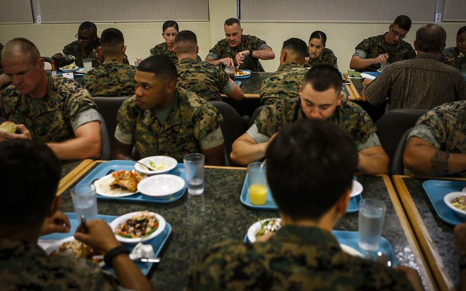 Marines assigned to Headquarters Battalion, Marine Corps Base Hawaii eat at Anderson Chow Hall on June 25, 2018. Binge eating and other eating disorders among military personnel may be on the rise, according to a new military study.