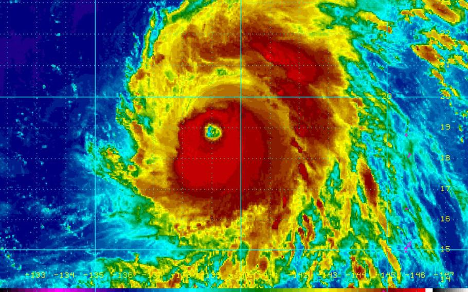 At 6 a.m., Typhoon Maria was 592 miles southeast of Kadena Air Base and was moving west-northwest at 16 mph, packing 161-mph sustained winds and 196-mph gusts.