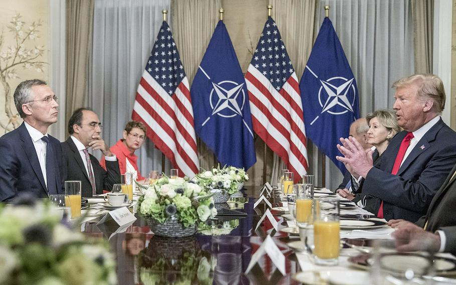 Meeting between NATO Secretary-General Jens Stoltenberg and President Donald Trump in Brussels on Wednesday, July 11, 2018.
