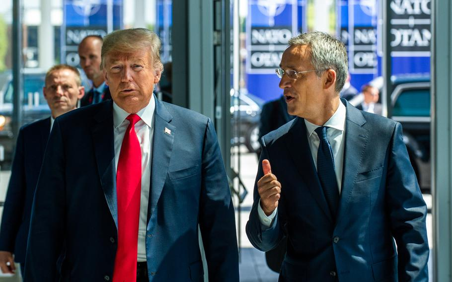 U.S. President Donald Trump with NATO Secretary-General Jens Stoltenberg at the arrivals of heads of state and government at the opening of the NATO summit at the organization's headquarters in Brussels on Wednesday, July 11, 2018.