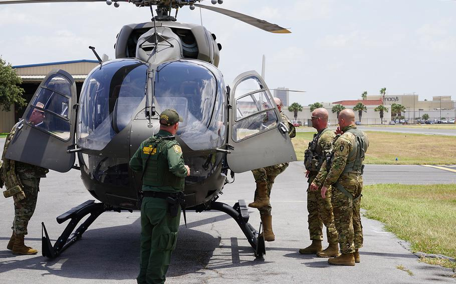 """Maj. Gen. James """"Red"""" Brown, deputy commander of the Army National Guard, U.S. Army Forces Command, boards a National Guard UH-72 Lakota helicopter in McAllen, Texas on June 11, 2018. Brown received an aerial flyover of the Rio Grande Valley with U.S. Border Patrol officials and other Texas Army National Guard leadership as part of Operation Guardian Support."""