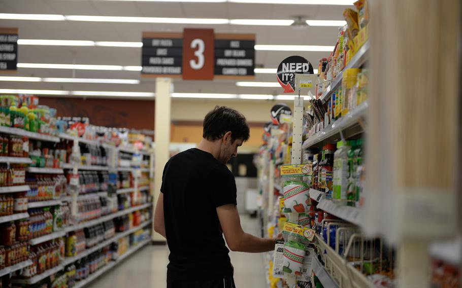 A customer browses the commissary at Columbus Air Force Base, Miss., on July 13, 2017.