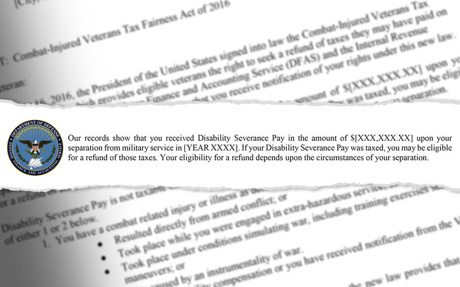 Letters were sent this month by the IRS notifying 130,062 veterans that the federal agency might have improperly collected taxes on their lump sum disability severance pay issued between 1991 and 2016. The National Veterans Legal Services Program estimates some veterans are owed more than $10,000.