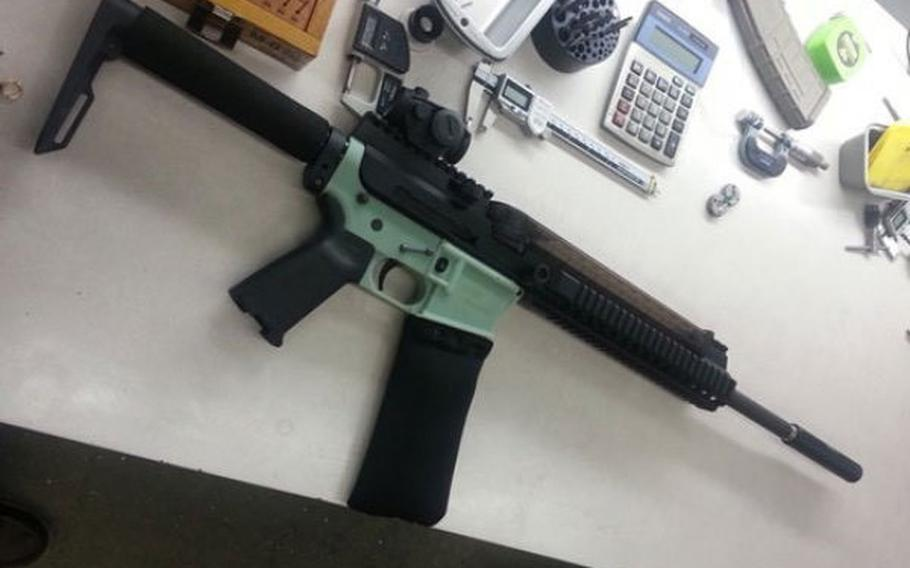 Green lower receiver for the AR-15 was printed by Cody Wilson in November 2012.