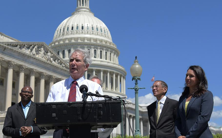 Rep. Walter Jones (R-N.C.), speaks about House Resolution 922 at a press conference on July 18, 2018. The resolution would make it an impeachable offense for a president to declare war without congressional approval.  Jones is co-sponsoring the resolution.