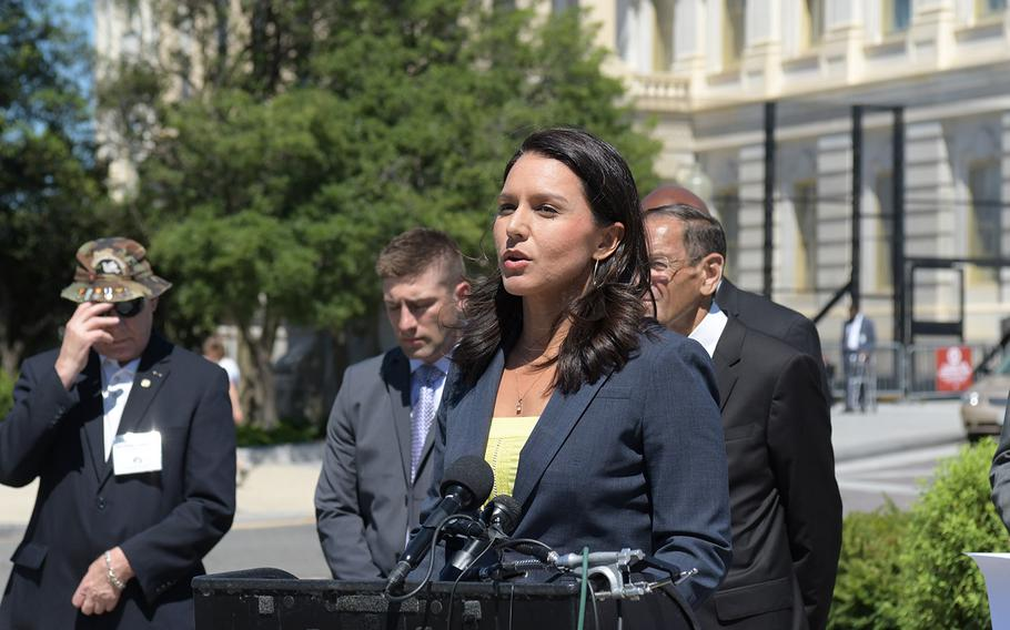Rep. Tulsi Gabbard, (D-Hawaii), speaks about House Resolution 922 at a press conference on July 18, 2018. The resolution would make it an impeachable offense for a president to declare war without congressional approval.  Gabbard is co-sponsoring the resolution.