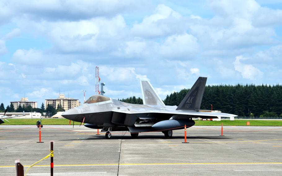 An F-22, assigned to the 525th Fighter Squadron out of Joint Base Elmendorf-Richardson, Alaska, sits on the runway at Yokota Air Base, Japan on July 9, 2018.