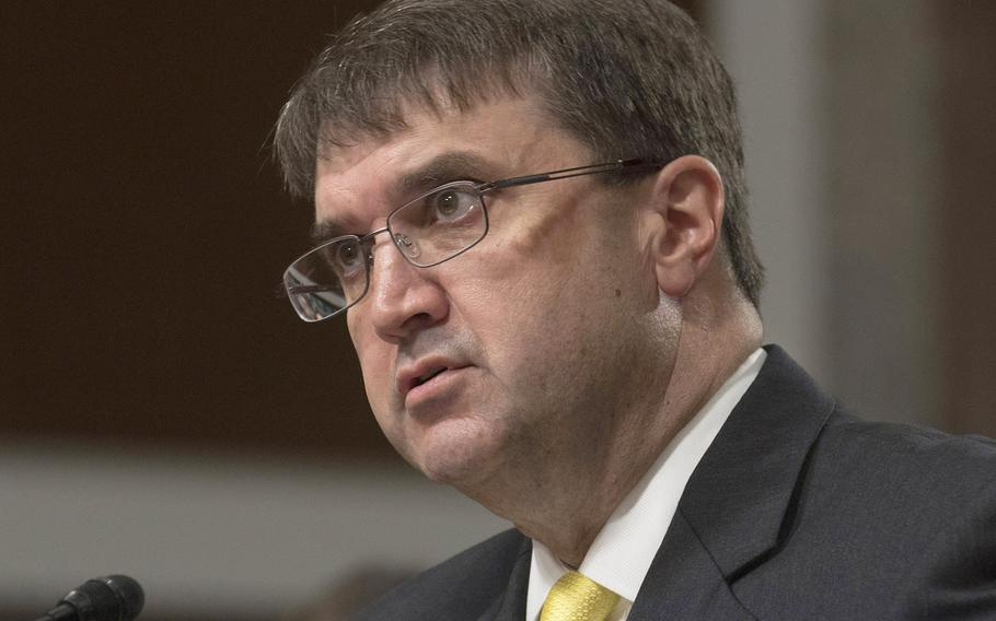 Robert Wilkie, shown here at his Senate Veterans' Affairs Committee confirmation hearing on June 27, 2018, has been confirmed to lead the Department of Veterans Affairs.