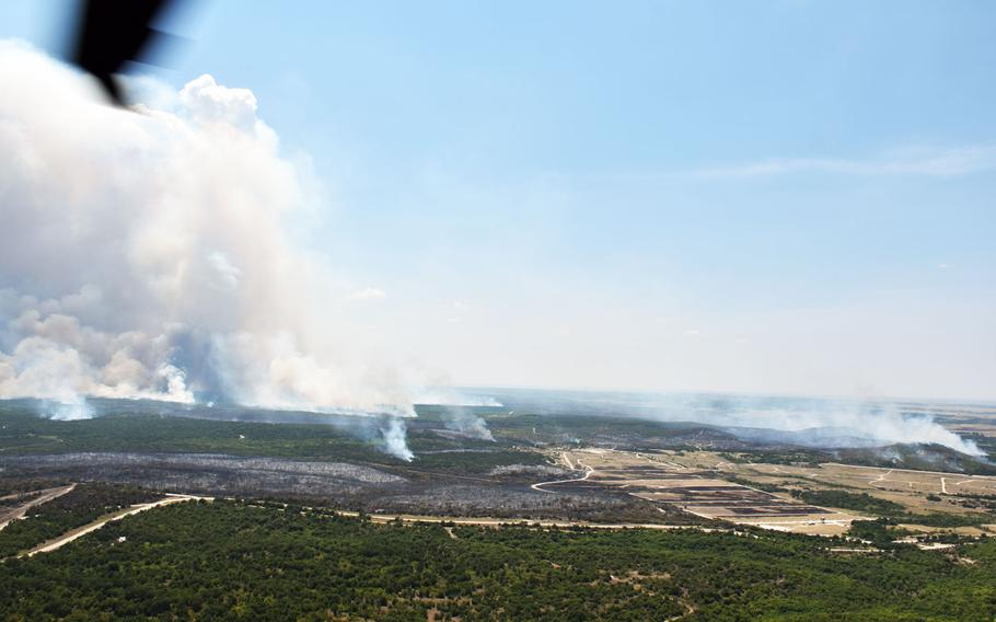 Fort Hood first-responders continue to battle several fires burning on the North side of the post's expansive training grounds.
