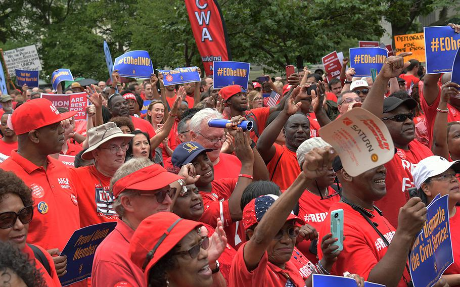 Federal workers rally in support of the American Federation of Government Employees on July 25, 2018 in Washington, D.C.