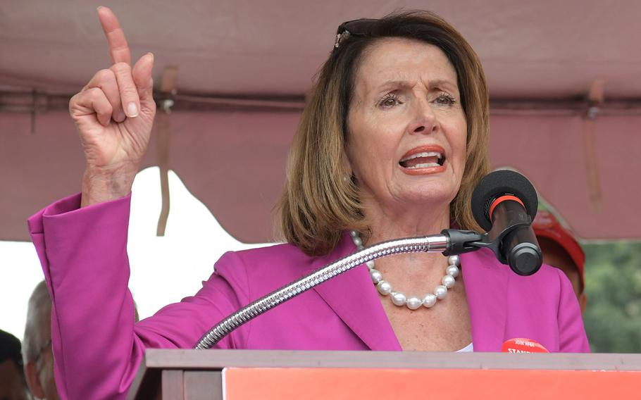 House Minority Leader Nancy Pelosi, D-Calif., speaks on stage at a rally to support the American Federation of Government Employees on July 25, 2018 in Washington, D.C.