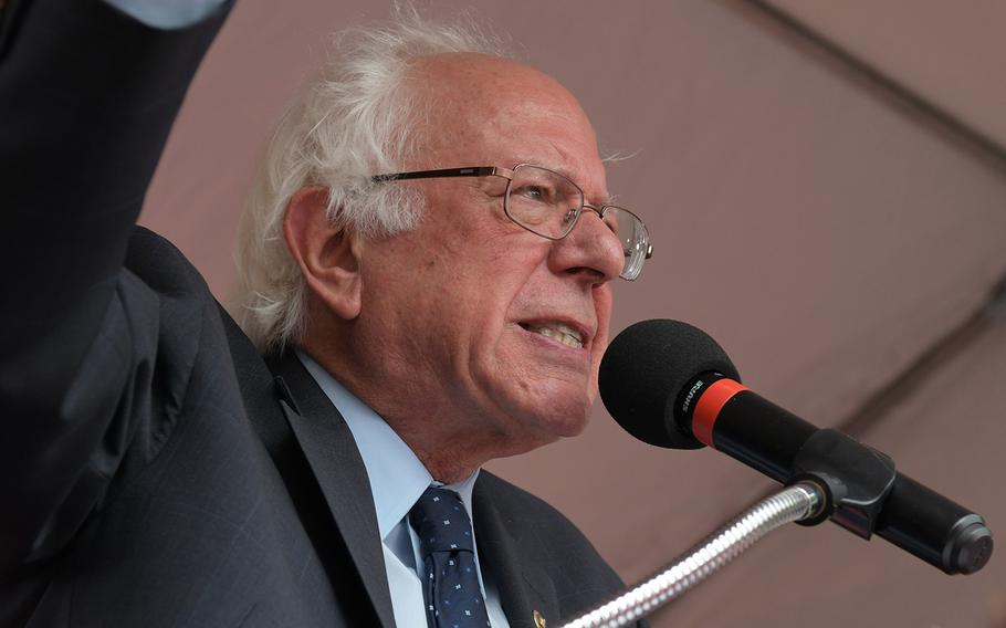 Sen. Bernie Sanders, shown here at a rally to support the American Federation of Government Employees in 2018 in Washington, D.C., is squaring off against Sen. Joe Manchin on President Joe Biden's economic plan.