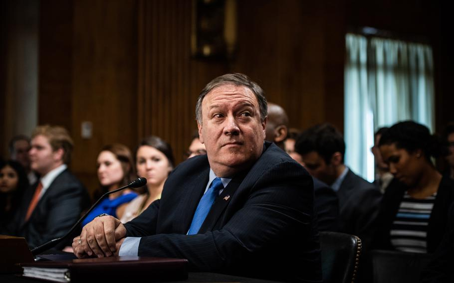 Secretary of State Mike Pompeo testifies to Senate Foreign Relations Committee on July 25, 2018, in Washington, D.C.