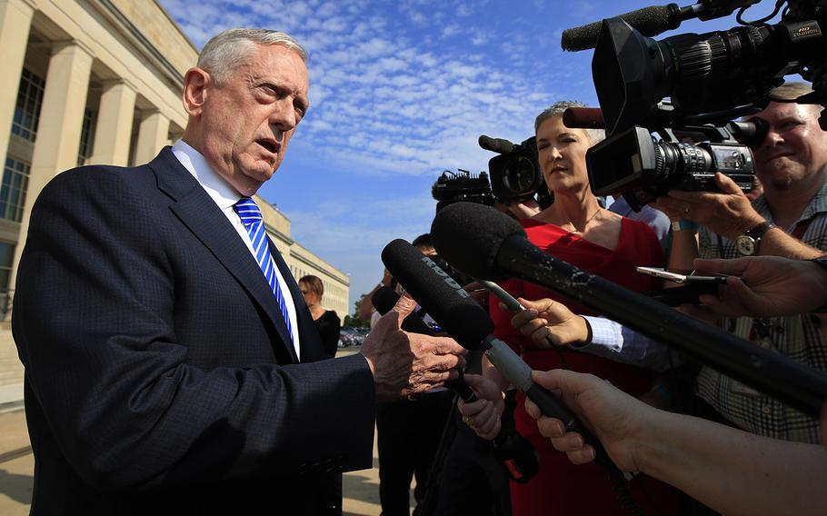 Secretary of Defense Jim Mattis speaks to reporters at the Pentagon, Friday, July 27, 2018.