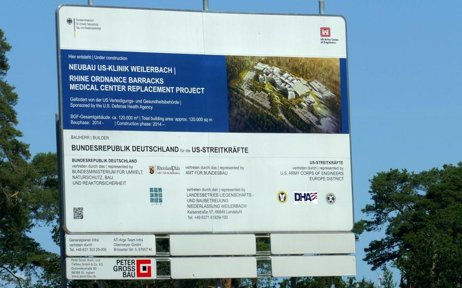 A construction information sign on the site where the Rhine Ordnance Barracks Medical Center, the replacement for Landstuhl Regional Medical Center, is being built. The National Defense Authorization Act contains a provision that prohibits funds for acquiring energy at the new center, slated to open in 2023, until the Pentagon certifies the source of the power.