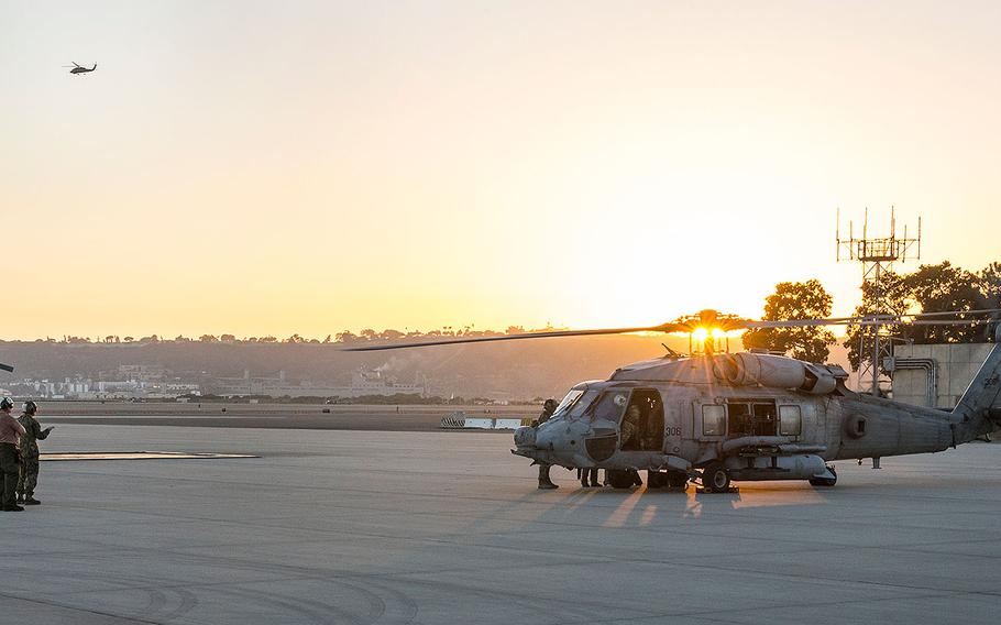 An aircrew assigned to Helicopter Sea Combat Squadron (HSC) 85 prepares to take off in a HH-60H Sea Hawk helicopter from Naval Air Station North Island, Calif., Oct. 19, 2016.