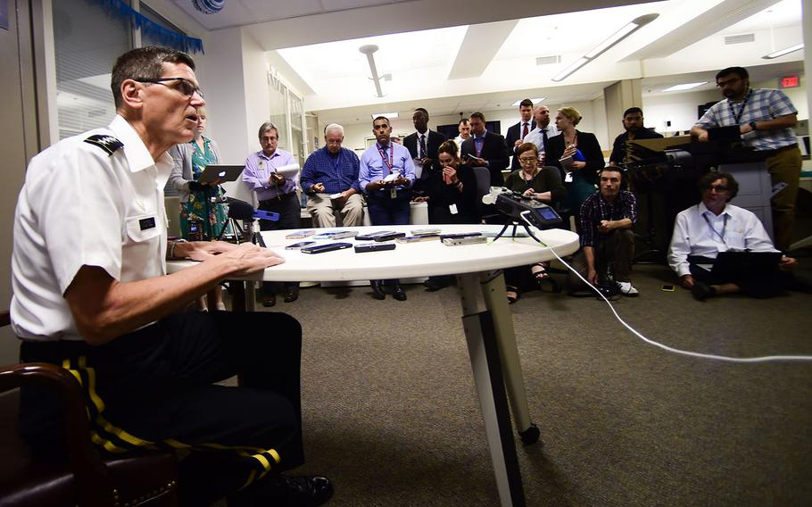 U.S. Army Gen. Joseph Votel, U.S. Central Command commander, speaks to the press at the Pentagon in Washington, D.C. on Aug. 08, 2018.