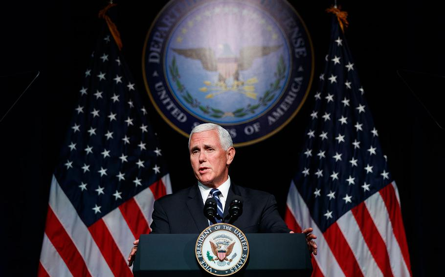 Vice President Mike Pence speaks during an event on the creation of a United States Space Force, Thursday, Aug. 9, 2018 at the Pentagon.