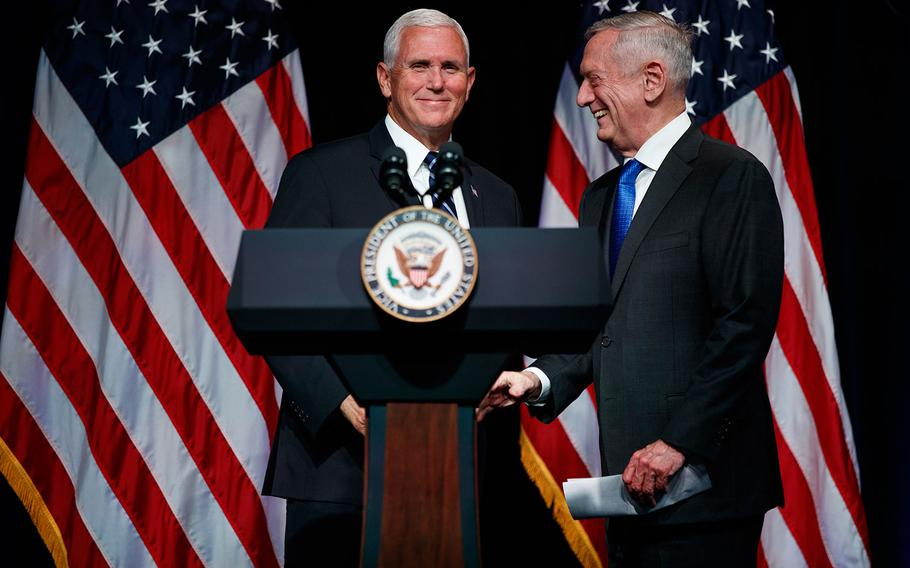 Secretary of Defense Jim Mattis introduces Vice President Mike Pence during an event on the creation of a United States Space Force, Thursday, Aug. 9, 2018 at the Pentagon.
